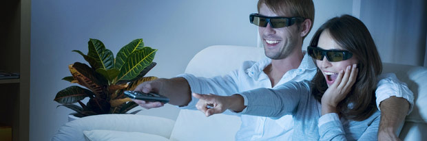 3D Couple watching movies.