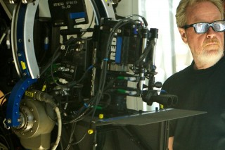 Director Ridley Scott on set with the RED EPIC cameras.